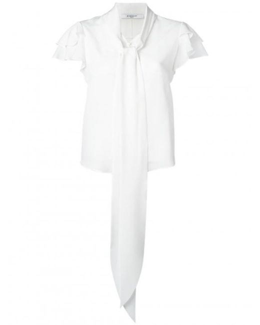Givenchy | White Ruffle Sleeve Pussybow Blouse | Lyst