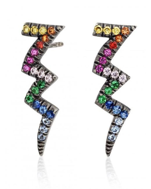 Shelly Zucker Jewelry - Thunder Earring With Multicolor Stones - Lyst