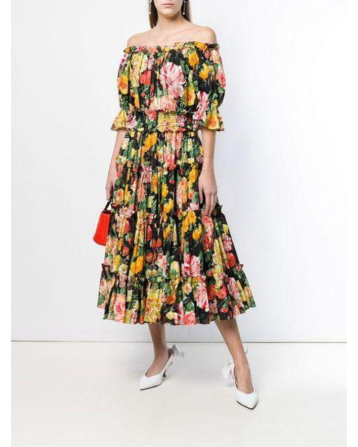 0f5bbcab ... Dolce & Gabbana - Multicolor Floral Print Flared Dress - Lyst