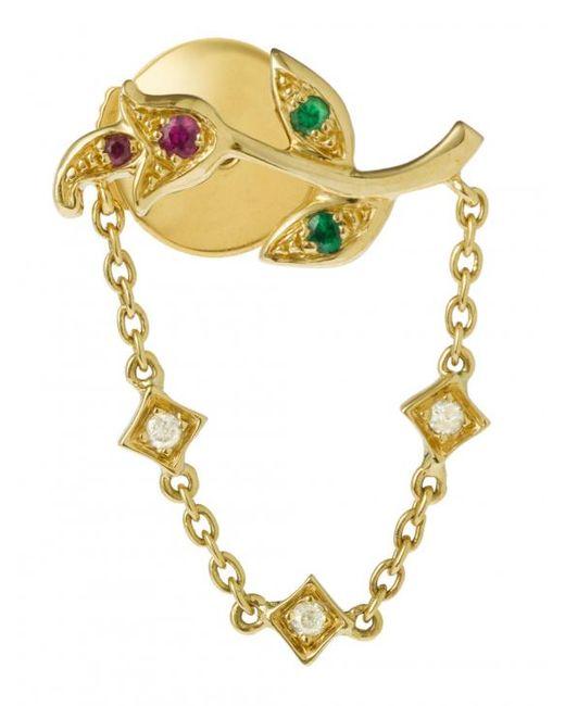 Yvonne Léon - Metallic Rose Stem Earring With Chain - Lyst