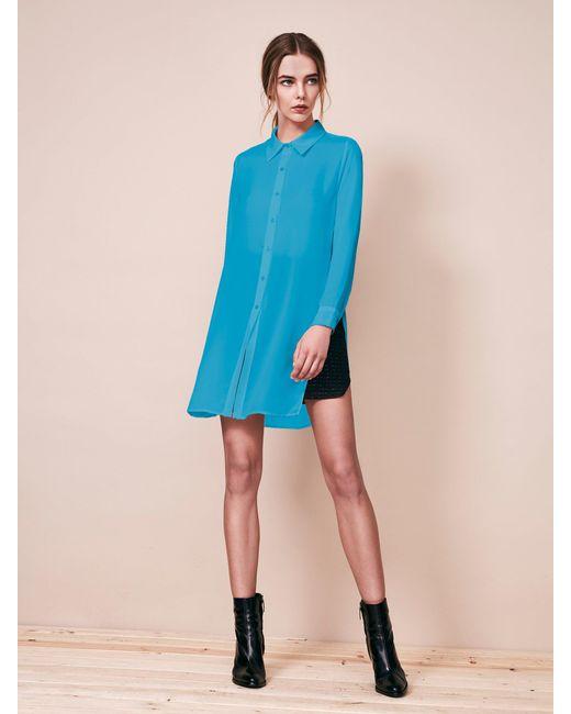 Krisa - Blue Tunic Button Front Shirt - Lyst