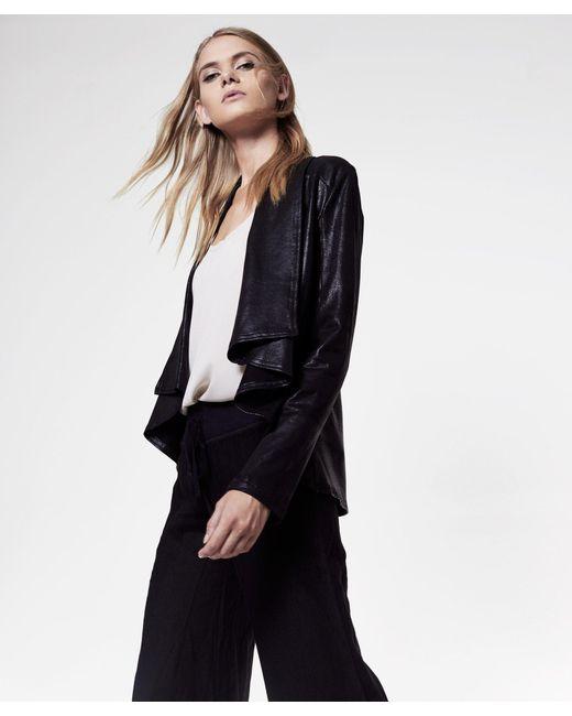 Krisa - Black Coated Drape Jacket - Lyst