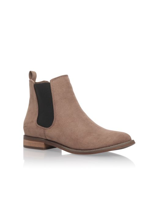 Miss Kg | Brown Serene Block Heel Fur Trim Ankle Boots | Lyst