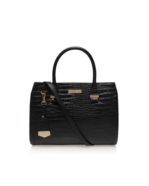 Carvela Kurt Geiger - Black Holly Croc Zip Bag - Lyst