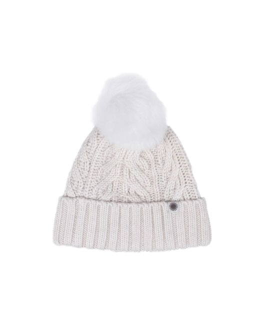 Ugg | Cuff Hat Fur Pom In Winter White | Lyst