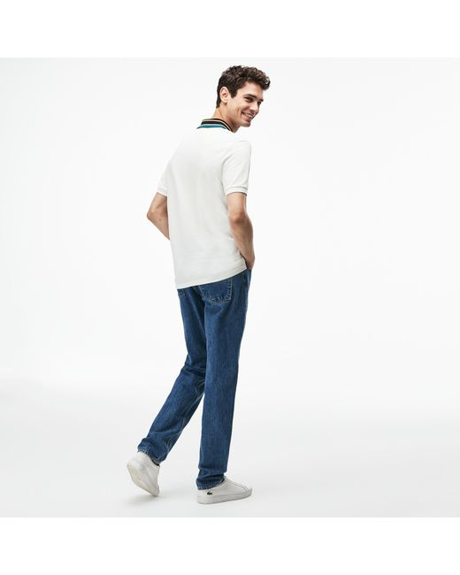 1f7388aa4b ... Lacoste - White Slim Fit Striped Contrast Collar Petit Piqué Polo for  Men - Lyst ...