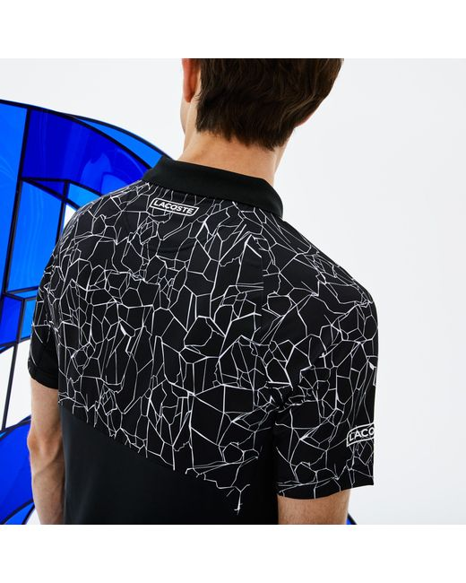 ff7af983 ... Lacoste - Black Sport Print Technical Jersey Polo - X Novak Djokovic On  Court Premium Edition ...