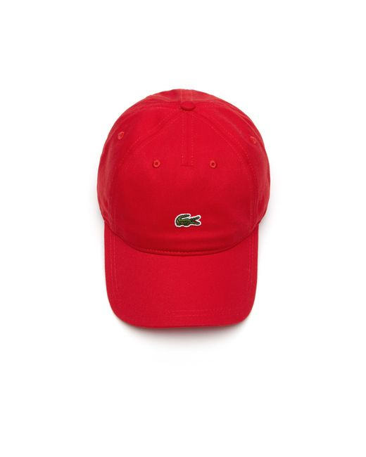 5184af35aa3 Lyst - Lacoste Embroidered Crocodile Cotton Cap in Red for Men