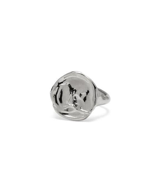 Lady Grey - Metallic Palette Signet Ring In Rhodium - Lyst