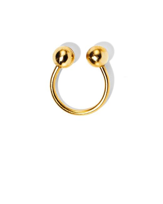 Lady Grey - Metallic Barbell Ring In Gold - Lyst