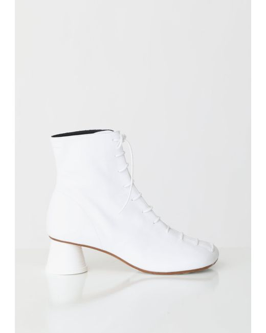 7029ad54b9 MM6 by Maison Martin Margiela - White Lace Up Cup Heeled Boots - Lyst ...