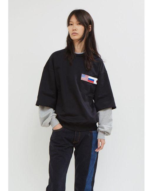 Gosha Rubchinskiy - Black Double Sleeve Sweatshirt - Lyst
