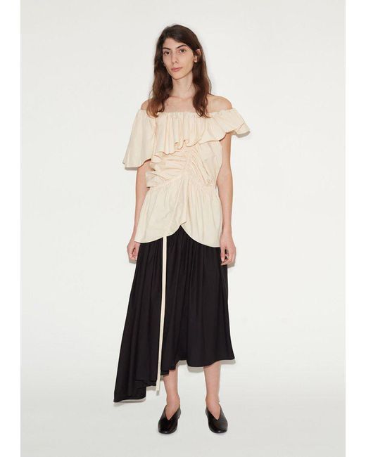 Lemaire - Black Gathered Skirt - Lyst
