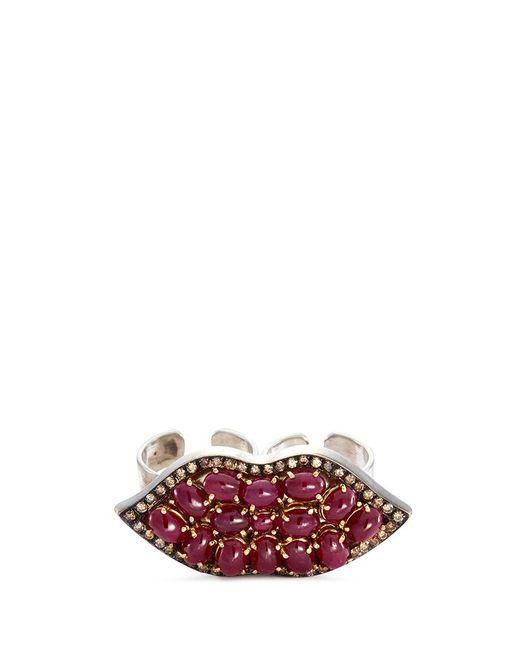 Delfina Delettrez | Metallic Ruby 18k Gold Silver Lips Two Finger Open Ring | Lyst