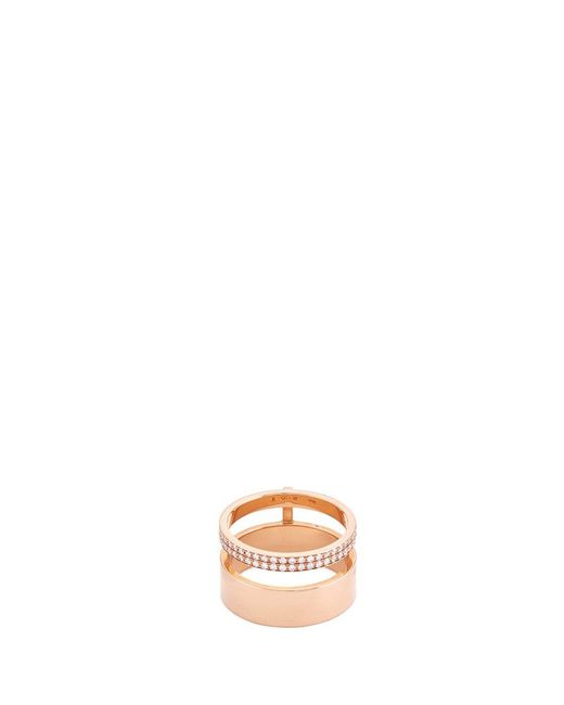 Repossi | Metallic 'berbère Module' Diamond Pavé 18k Gold Two Row Ring | Lyst
