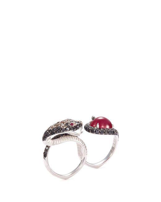 Stephen Webster   Metallic 'burma' Diamond Ruby 18k White Gold Snake Two Finger Ring   Lyst