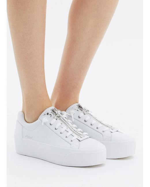 8243ba4a5af8 ... Lyst Ash - White  buzz  Zip Leather Platform Sneakers ...