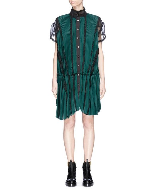Sacai | Green Lace Trim Plissé Pleated Sateen Dress | Lyst