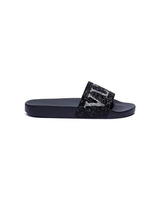 Valentino - Black Swarovski Crystal Embellished Logo Slide Sandals - Lyst
