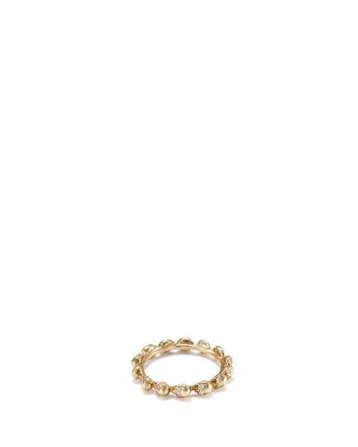 Delfina Delettrez | Metallic Diamond 18k Yellow Gold Skull Ring | Lyst