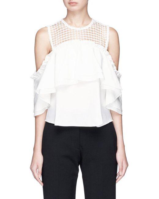 Nicholas | White Crochet Lace Yoke Ruffle Cold Shoulder Top | Lyst