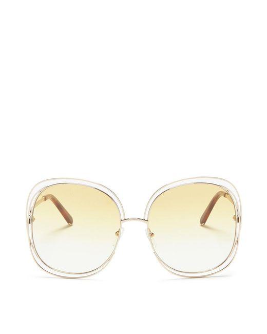 Chloé | Metallic 'carlina' Overlap Wire Rim Square Sunglasses | Lyst