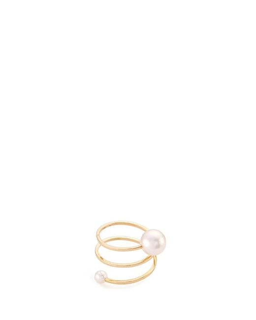Sophie Bille Brahe | Metallic 'louise Grand' Akoya Pearl 14k Yellow Gold Spiral Ring | Lyst