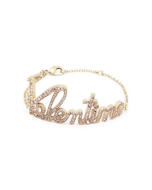 Valentino - Multicolor Pavé Logo Bracelet - Lyst