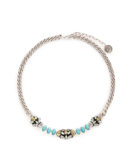 Anton Heunis   Blue Swarovski Crystal Filigree Floral Charm Necklace   Lyst