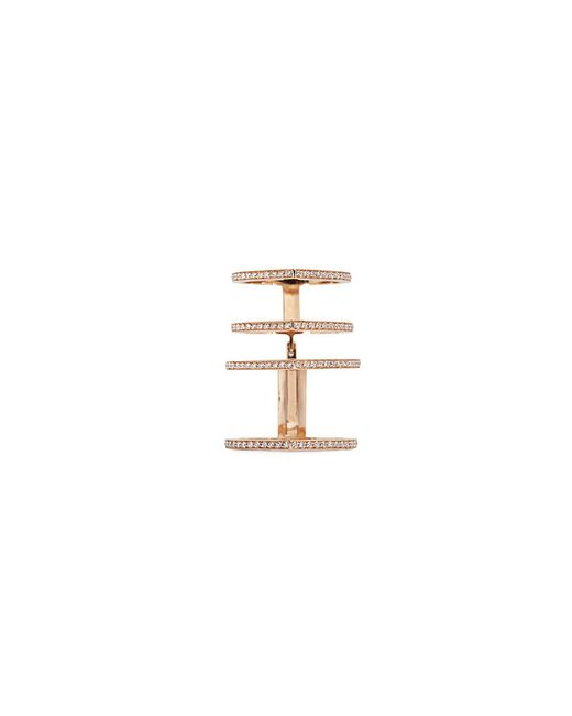 Repossi - Metallic 'antifer' Diamond Pavé 18k Rose Gold Four Row Linked Ring - Lyst