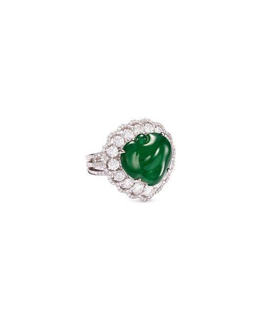 LC COLLECTION - Metallic Diamond Jade 18k Gold Peach Ring - Lyst