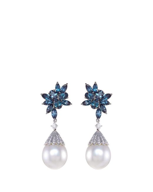 LC COLLECTION | Metallic Diamond Alexandrite Pearl Platinum And Silver Circular Drop Earrings | Lyst