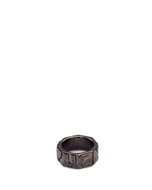 Lynn Ban | Metallic 'i Fxxk You' Diamond Rhodium Silver Ring for Men | Lyst