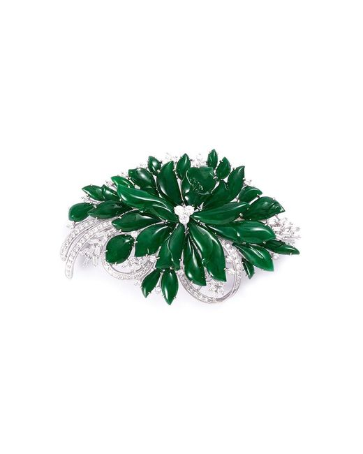 LC COLLECTION - Metallic Diamond Jade 18k White Gold Brooch - Lyst