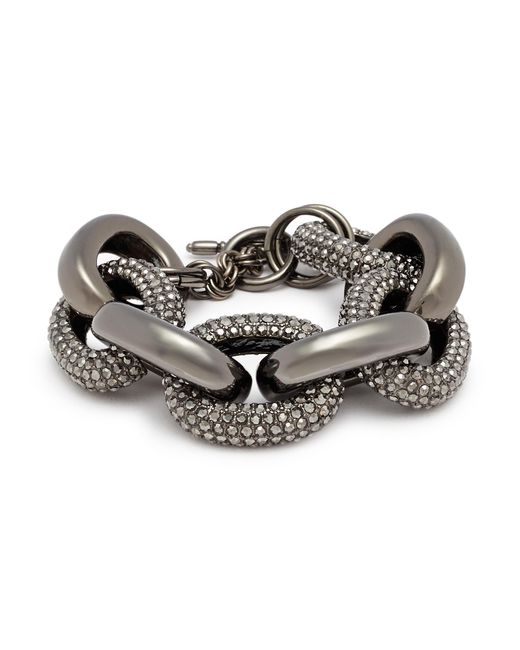 Kenneth Jay Lane - Metallic Glass Crystal Interlocking Link Chain Bracelet - Lyst