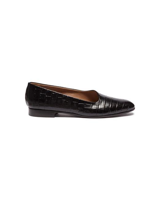 Alumnae - Black 'garconne' Croc Embossed Leather Flats - Lyst