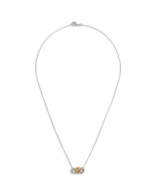 CZ by Kenneth Jay Lane - Metallic Triple Ring Pendant Necklace - Lyst