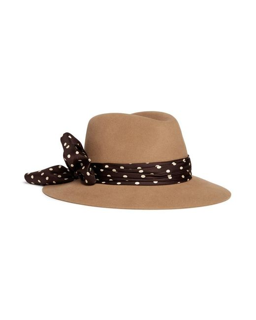 Maison Michel - Brown 'henrietta' Rabbit Furfelt Fedora Hat - Lyst
