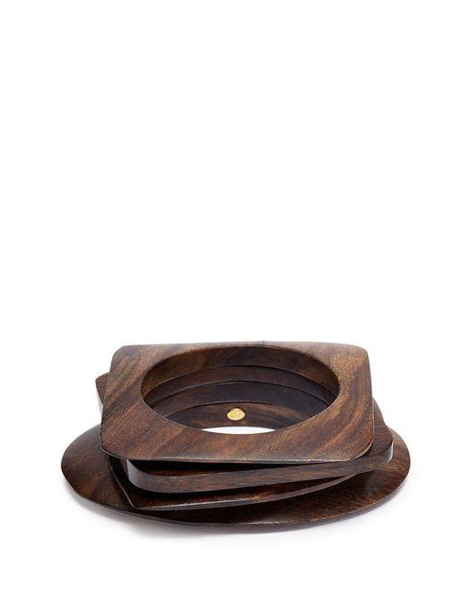 Kenneth Jay Lane   Brown Geometric Wood Bangles 4-piece Set   Lyst