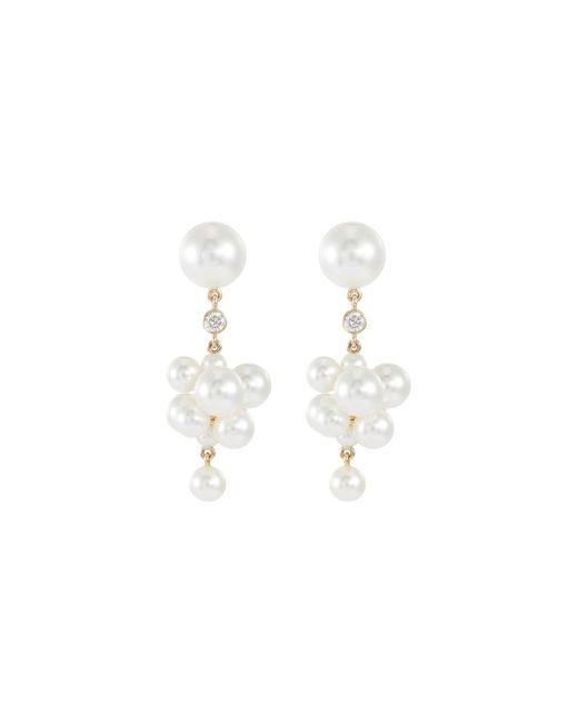 Sophie Bille Brahe - Metallic 'botticelli Diamant' Diamond Freshwater Pearl 14k Yellow Gold Drop Earrings - Lyst