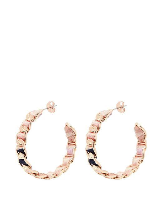 W. Britt - Multicolor Curb Chain Line Building Print Silk Ribbon Hoop Earrings - Lyst