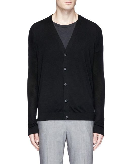 Theory Silk Blend Cardigan in Black for Men