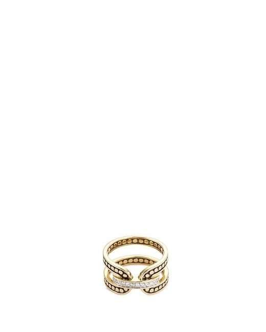 John Hardy | Metallic Diamond 18k Yellow Gold Dotted Ring | Lyst
