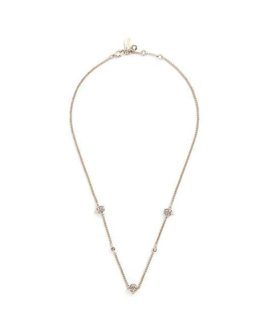 Alexander McQueen - Metallic Swarovski Crystal Skull Station Chain Necklace - Lyst