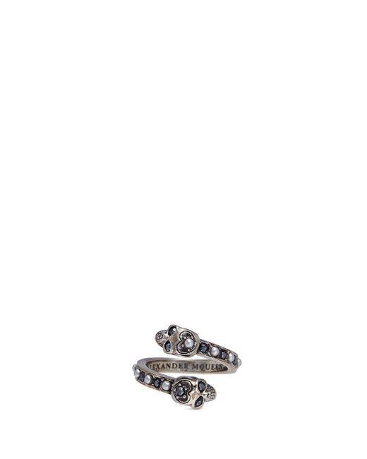 Alexander McQueen | Metallic Swarovski Crystal Faux Pearl Double Skull Swirl Ring | Lyst
