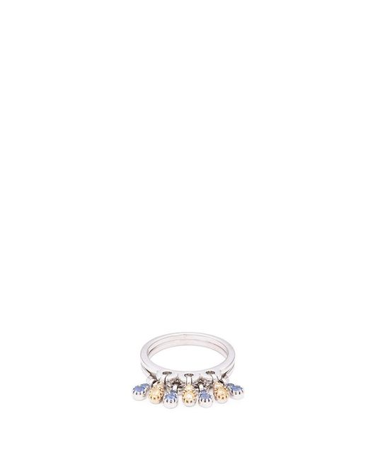 Ferrari Firenze | Metallic 'charleston' Diamond Sapphire 18k White Gold Teardrop Charm Ring | Lyst