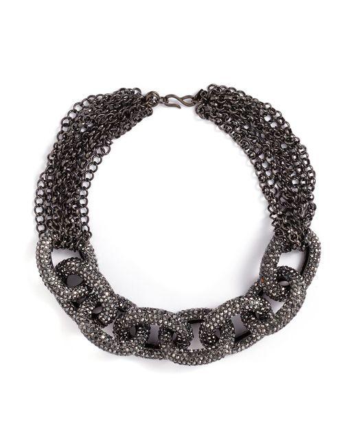Kenneth Jay Lane - Metallic Glass Crystal Interlocking Link Chain Necklace - Lyst