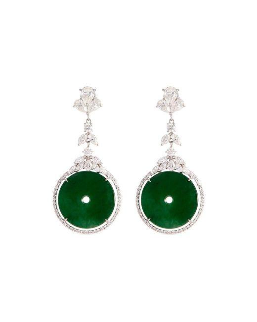LC COLLECTION - Metallic Diamond Jade 18k Gold Cutout Disc Drop Earrings - Lyst