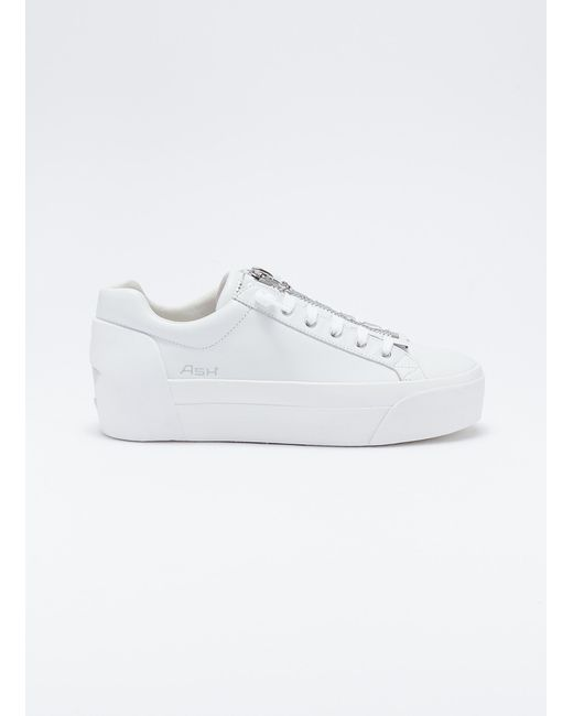 af0d8772ac08 Ash - White  buzz  Zip Leather Platform Sneakers - Lyst ...
