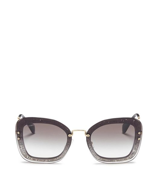 Miu Miu - Gray Metal Temple Mounted Lens Glitter Acetate Square Sunglasses - Lyst